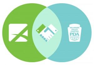 Advanta Advertising logo and PDA Delaware Valley logo with partnership handshake
