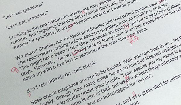 Advanta Advertising redlined proofreading copy