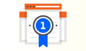 Advanta Advertising blue ribbon over quality website content icon