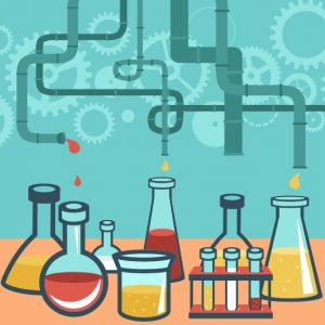 Advanta Advertising's advertising laboratory bench includes beakers, flasks, test tubes for branding, content creation and collaboration
