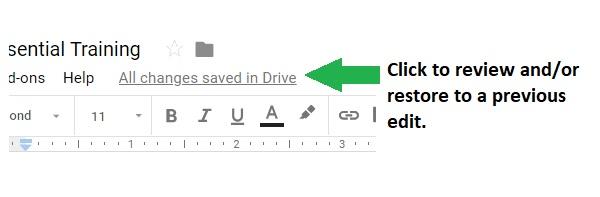 Advanta Advertising close-up screenshot of Google Sheets link to view/restore previous versions
